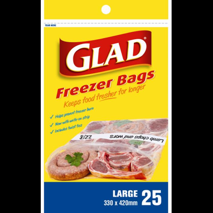 Glad® Freezer Bags Large – 330mm x 420mm