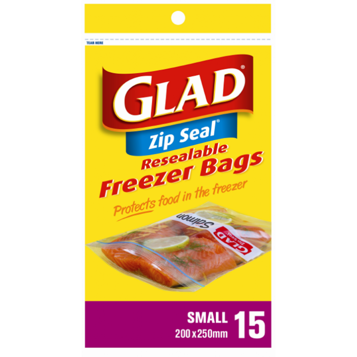 Glad® Resealable Freezer Bags Small – 220mm x 250mm