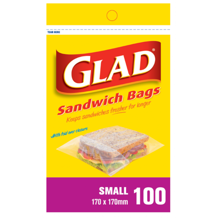 Glad® Sandwich Bags Small 100's – 170mm x 170mm