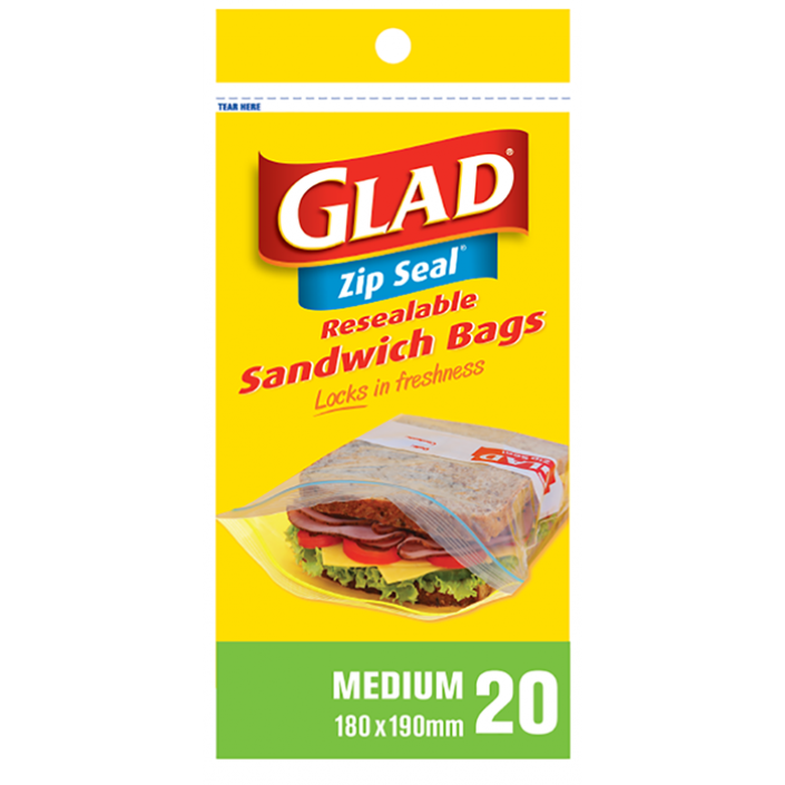 Glad® Sandwich Bag Zip Seal® Medium – 180mm x 190mm